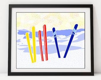 SkiIsh: Skiing Decor, Ski Art, Ski Sign, Ski Poster, Art Print, Ski, Skiing, Wall Decor, Wall Art Pop Art, Winter