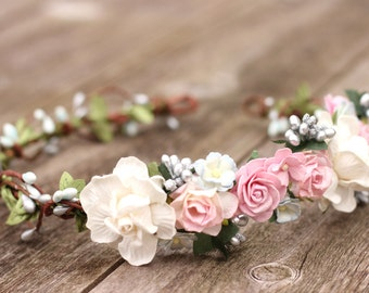 Wedding Floral Crown, Pink Flower Crown, Silver Flower Crown, Bridal Hair Crown, Hair Wreath, Wedding Flower Hair Wreath, Bridal Rose Crown