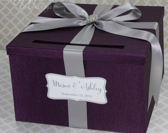 Wedding Card Box Purple Plum Lavender Money Holder Customize your Card Holder
