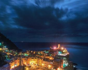 Starry Vernazza Night, Vernazza, Cinque Terre, Liguria, Italy, Mediterranean Sea, Harbor, Boats - Travel Photography, Print, Wall Art