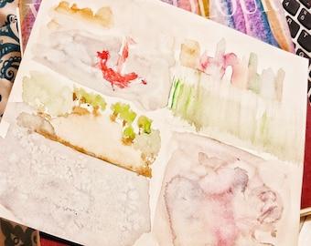 Four techniques, watercolor, Fabriano, 18x24