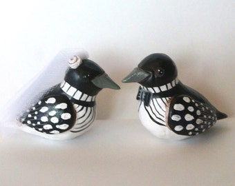 Small Black and White Loons Wedding cake topper Rustic Wedding