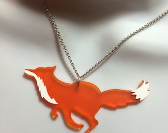 Laser cut Acrylic 'RUNNING FOX' necklace