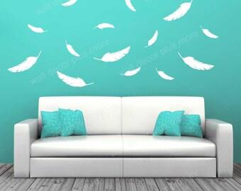 Feathers Wall Vinyl Decals Modern Nursery Wall Art Sticker Shapes