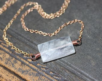 Moonstone Necklace Copper Necklace Moonstone Jewelry Luxe Rustic Jewelry
