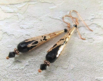 Long Black Earrings with Faceted Agate Semiprecious Stone Faceted Teardrops and Copper Filigree bead caps, spacers and Swarovski crystals