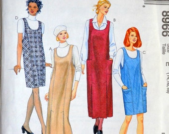 Uncut 1990s McCall's Vintage Sewing Pattern 8966, Size 14-16-18; Misses' Jumper in Two Lengths