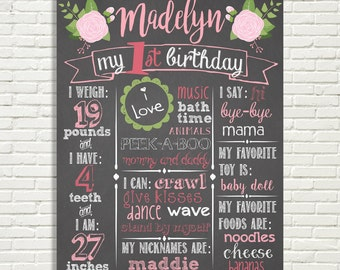 """Girls First Birthday Floral Chalkboard Sign 16x20"""" Poster Light Pink, Hot Pink, 1st Birthday, Roses  Digital File ONLY"""