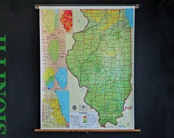 Vintage Pull Down School Map State Of Illinois Nystrom Wall Hung Classroom Retractable Roller Map