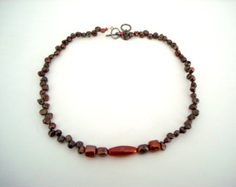 Copper Rose Pearls Necklace small cultured colored pearls with iridescent red beaded short choker necklace