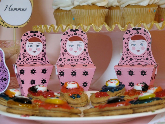 Matryoshka Party Favor Box Printable file Russian Babushka Nesting Stacking Doll