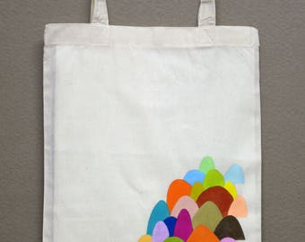 hand painted cotton bag #04 (color mountains#01 -small size-)