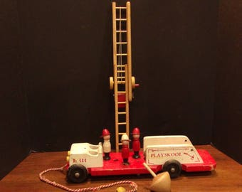 Vintage Playschool Wood Fire/Ladder Truck - Child's Pull Toy
