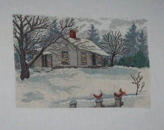 Finished Counted Cross Stitch House in Snow