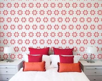 Star-Burst Floral Wall Stencil Reusable