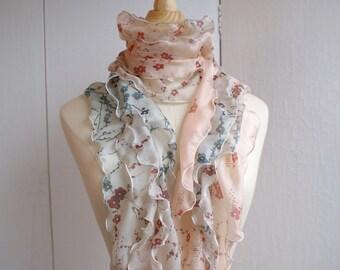 Silk scarf with ruffles