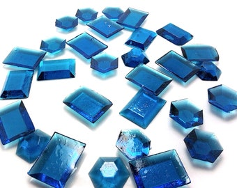 BLUE EDIBLE SUGAR Jewels -  Cupcake Toppers, Wedding Cake Decorations, Candy or Dessert Table, Sugar Gems, Featured in Brides Magazine