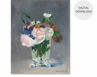"Manet Painting Print (Printable Flower Art, Digital Botanical Home Wall Decor, Impressionist Art Download) 1882 ""Flowers in a Crystal Vase"""