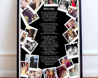 Personalised gift for girlfriend photo collage boyfriend print friendship presents wife quote