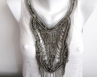 Silveras Collar Necklace,Beaded Collar Embellishment,Antique Silver Collar Patch,Portable Necklace ,Beaded  Patch,Metalic Bead Necklace