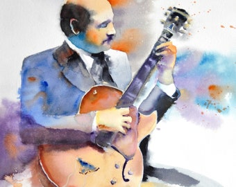 Joe Pass original watercolor painting (12.5'' x 14'') / (32 x 36 cm)
