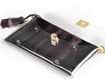 Gatsby Faux Fur Transparent Clutch Bag by MARDERE | 2 in 1 Clutch Bag | Evening Bag | HandMade Clutch | Handbag | Purple Purse
