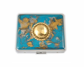 Bejeweled Weekly Pill Box inlaid in Hand Painted Turquoise and Gold Enamel Quartz Inspired Design Personalized and Color Options Available