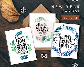 2018 PRINTABLE card set,New Year Cards 2018,Holiday Card New Years,New Year Cards set,Printable New Year cards,Instant Download,Printables