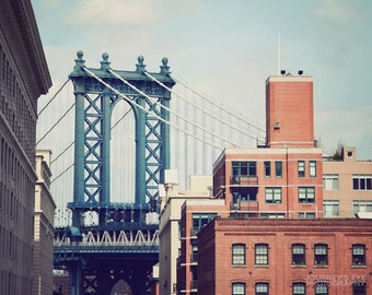 New York photography, fine art photograph, NYC wall art, New York City decor, Brooklyn, Manhattan Bridge - Bridge of Blue
