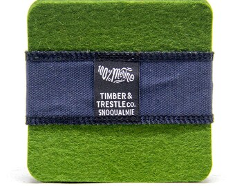 Square Merino Wool Felt Coaster Set – Olive Green – 5MM Thick