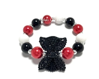 Toddler or Girls Small Beaded Black Bow Bracelet - Red, Black and White Bracelet - Mouse Bow Bracelet - Mini Bow Bracelet - Girly Bracelet