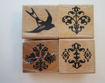 4 rubber stamps - bird and flourishes - collage stamps