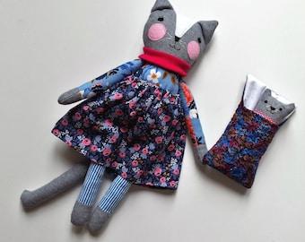 Rag Doll Cat with Kitten, Heirloom Cat Doll Play-set named Lucinda