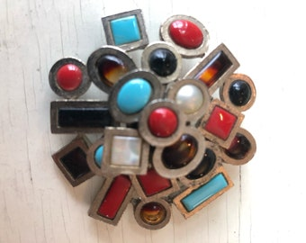 Mid Century Modern geometric abstract brooch pin
