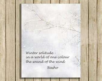 Printable wall art winter poem Basho haiku snow art printable instant download 8 x 10 winter quote poetry lover home decor