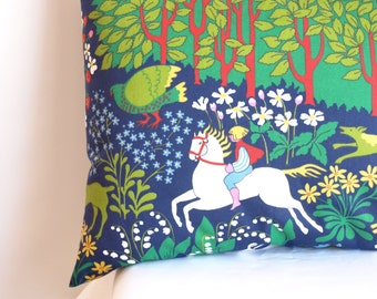 Pillowcase for throw pillows navy blue with with fairy tale forest Scandinavian Design Floor Cushions Accent Pillows