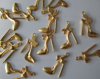 5 gold metal pumps shoes charms