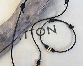 Genuine Leather Cord Necklace ,  Initial Charm Necklace , Adjustable, Men's Bracelet, Black Leather Cord Necklace , Unisex.