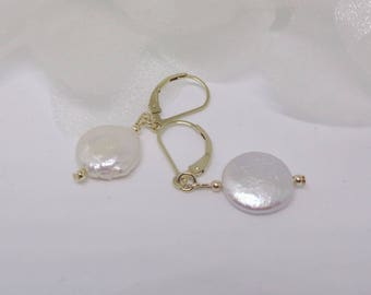 14kt Gold Coin Pearl Earrings 14k Gold White Coin Pearl Earrings Cultured Pearl Earrings 14kt Gold Pearl Earrings BuyAny+Get1 Free