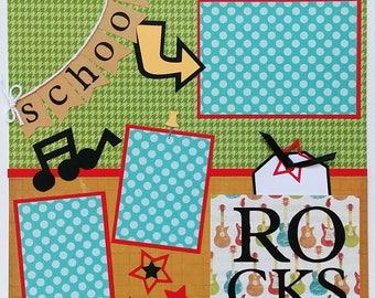 School scrapbook page - School Rocks - Back to school scrapbook - School photos - First Day of School - Scrapbook School - Kids scrapbook