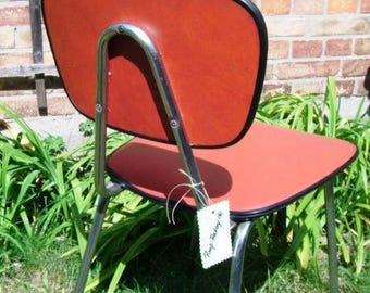 Vintage 60ties kitchen Chair, family friend, padded tubular steel chair