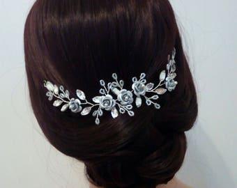 Flower Hair Vine, Silver Hair Vine, Flower hair Piece for Wedding Hair Piece, Flower and Rhinestone Hair Vine, crystal hair piece