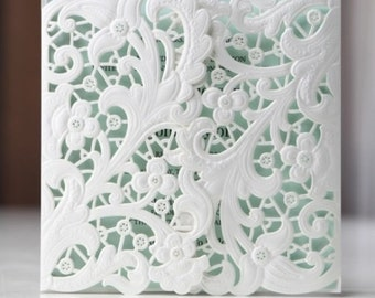 Laser Cut 'Gatefold Floral' Wedding Invitation