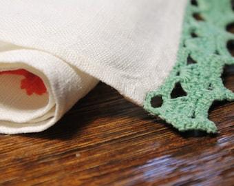 Linen Tea Towel, Green Kitchen Tea Towel, Crochet Tea Towel, Green Tea Towel