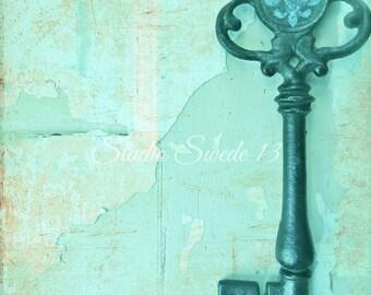 "Skeleton Key Art, Old Key Photo, Aqua Cottage Chic Shabby Turquoise Print, Rustic Farmhouse Art, Peeling Paint, Fleur De Lis- ""Master Key"""