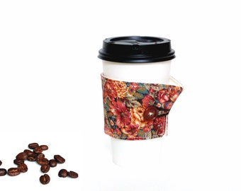 Fabric coffee cozy, Hot coffee cup holder, coffee to go sleeve, floral cotton cozy, gift for her