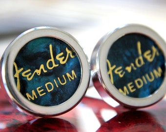 Turquoise Guitar Pick Custom Cuff Links Medium - Multiple Colors Now Available