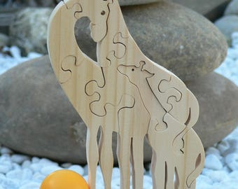 "Animal puzzle ""the giraffe family"" wooden cut"