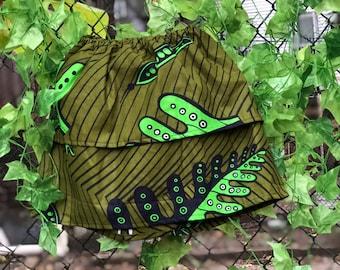 African print green skirt