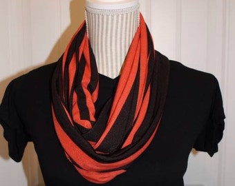 Orange and black knit infinity scarf
